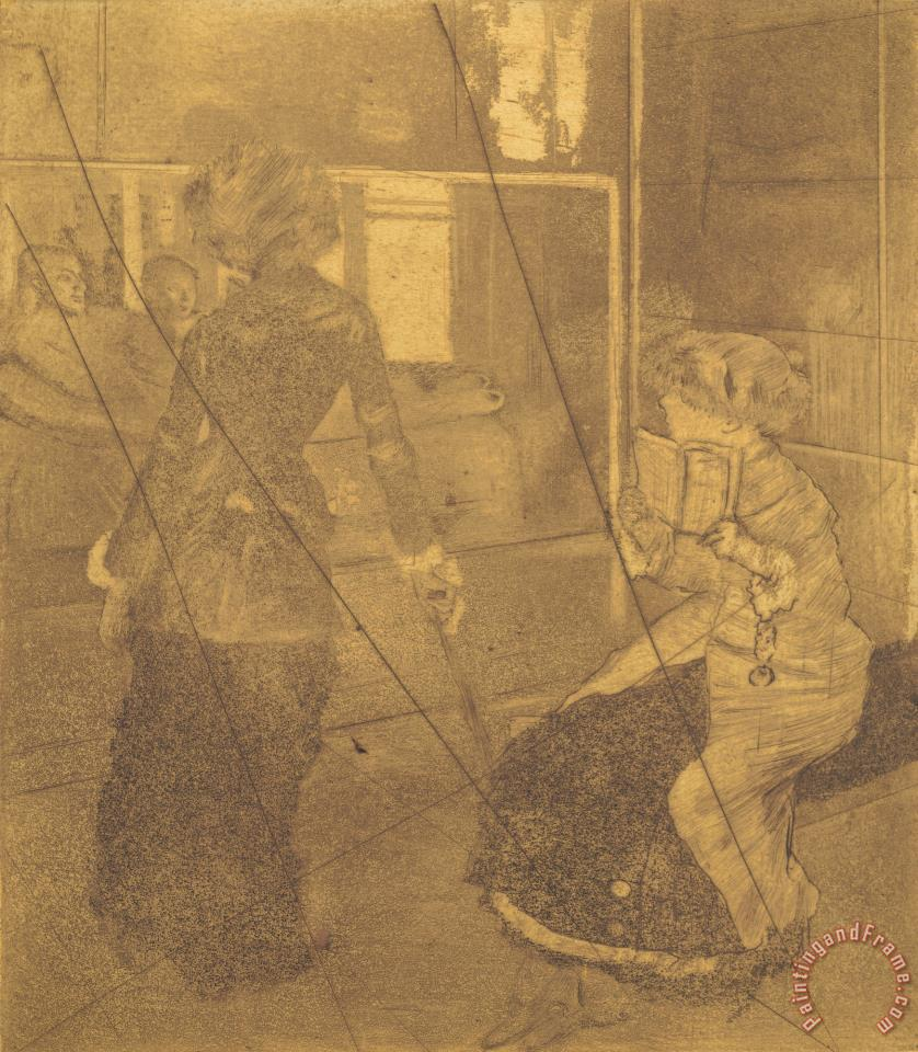Mary Cassatt at The Louvre: The Etruscan Gallery (au Louvre: Musee Des Antiques) [copper Plate] painting - Edgar Degas Mary Cassatt at The Louvre: The Etruscan Gallery (au Louvre: Musee Des Antiques) [copper Plate] Art Print